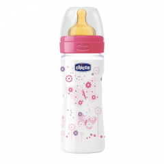 Biberon Chicco WellBeing PP, 250ml, tetina cauciuc, flux mediu, 2 luni+, 0% BPA, girl