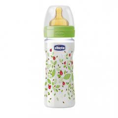 Biberon Chicco WellBeing PP, 250ml, tetina cauciuc, flux mediu, 2 luni+, 0% BPA, unisex