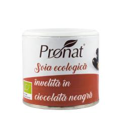 Boabe de soia prajite, invelite in ciocolata neagra, BIO, 100g, Pronat
