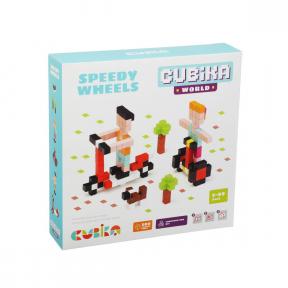 Joc din lemn, Set de constructii, World Speedy Wheels, Cubika