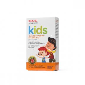 Kids chewable probiotic, cu aroma naturala de capsuni, 4-12 ani, 30 tablete masticabile, GNC