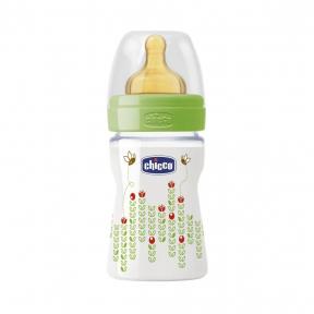 Biberon Chicco WellBeing PP, 150ml, tetina cauciuc, flux normal, 0 luni+, 0% BPA, unisex
