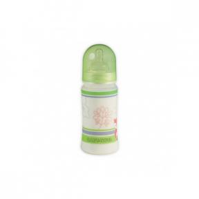 Biberon PP, decor fara BPA, cu gat lar si tetine, sistem anticolic, 300ml, BABY NOVA