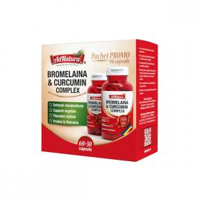 Bromelaina si Curcumin Complex, pachet 60 capsule + 30 capsule, AdNatura
