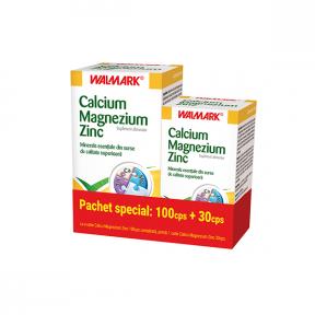 Pachet Calcium Magnezium Zinc, 100+30 tablete, Walmark