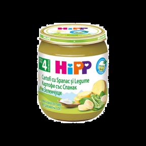 Crema de cartofi cu spanac si legume, BIO, 4+ luni, 125g, HIPP