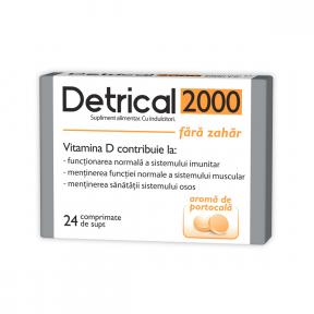 Detrical D3 2000 UI portocale, fara zahar, 24 comprimate de supt, Zdrovit