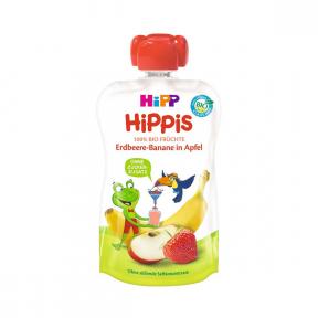 Hippis - piure din capsuni, banane si mar, BIO, 12+ luni, 100g, HIPP