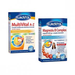 Multivital A-Z, 42 comprimate + Magneziu B Complex 42 comprimate, 65% reducere, Eurovita