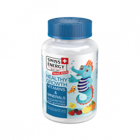 Healthy Growth, vitamine și minerale: A, B6, B12, C, D, E, tiamina, riboflavina, biotina, iodura de potasiu, 60 drajeuri moi pentru copii, SWISS ENERGY