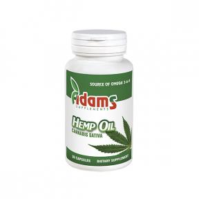 Hemp Oil, Cannabis Sativa, Ulei Canepa, 1000mg, 30 capsule, Adams Vision