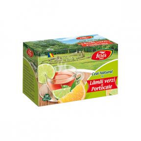 Ceai natural cu lamai verzi si portocale, 20 plicuri, Fares