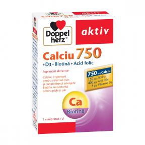 Doppelherz Aktiv Ca 750mg + D3 + biotina + acid folic, 30 comprimate, Doppelherz