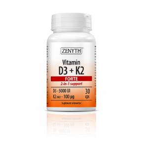 Vitamin D3 + K2 Forte, 30 capsule, Zenyth