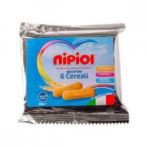 Biscuiti cu 6 cereale, 4+ luni, 66g, Nipiol