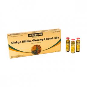 Ginkgo Biloba, Ginseng & Royal Jelly,10fiole,10ml (1000,200,300mg), Only Natural