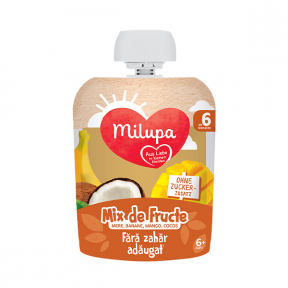 Mix de fructe tropicale - mar, banane, mango si cocos, 6+ luni, 90g, Milupa