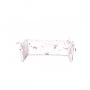 Protectie laterala pat, 140x27cm, bumbac ranforce, Ballet Pink, Lorelli