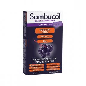Immuno Forte + Vitamina C + Zinc, 30 capsule, SAMBUCOL