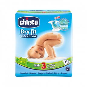 Scutece Dry Fit Advanced Midi, nr.3, 4-9kg, 21buc., Chicco