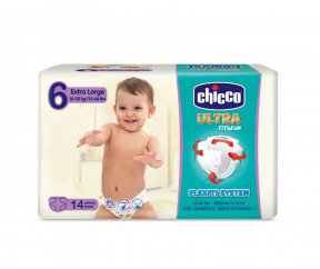 Scutece Ultra Fit & Fun Extra Large, nr.6, 16-30kg, 14buc, Chicco