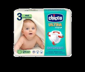 Scutece Ultra Fit & Fun Midi, nr.3, 4-9kg, 21buc, Chicco