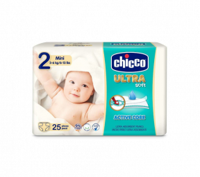 Scutece Ultra Soft Mini, nr.2, 3-6kg, 25buc, Chicco