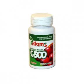 Vitamina C 500mg cu macese, 30 tablete, Adams Vision