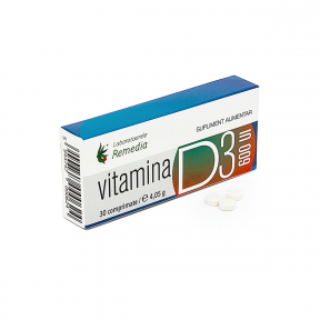 Vitamina D3, 600 UI, 30 comprimate,  Laboratoarele Remedia