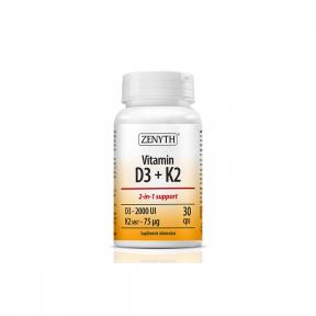 Vitamin D3 + K2, 30 capsule, Zenyth