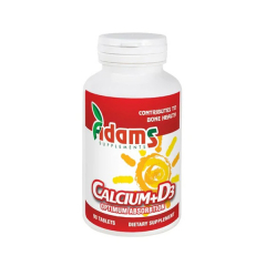 Calciu+Vitamina D3, 600 mg + 3mcg, 90 tablete, Adams Vision