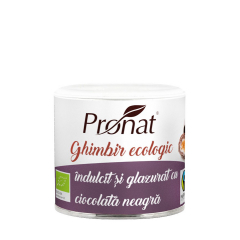 Ghimbir indulcit si glazurat cu ciocolata neagra, BIO, 90g, Pronat