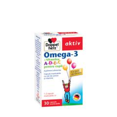 Doppelherz aktiv Omega, 3 A D E C pt copii, 30 capsule, mast Queisser