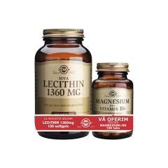 Lecitina 1360mg, 100 capsule + Magneziu cu Vitamina B6, 100 capsule gratis, Solgar