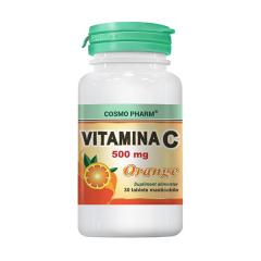 VItamina C Orange 500mg, 30 tablete masticabile, COSMO PHARM