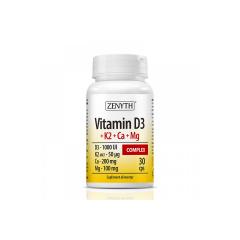 Vitamin D3+K2+Ca+Mg Complex, 30 capsule, Zenyth